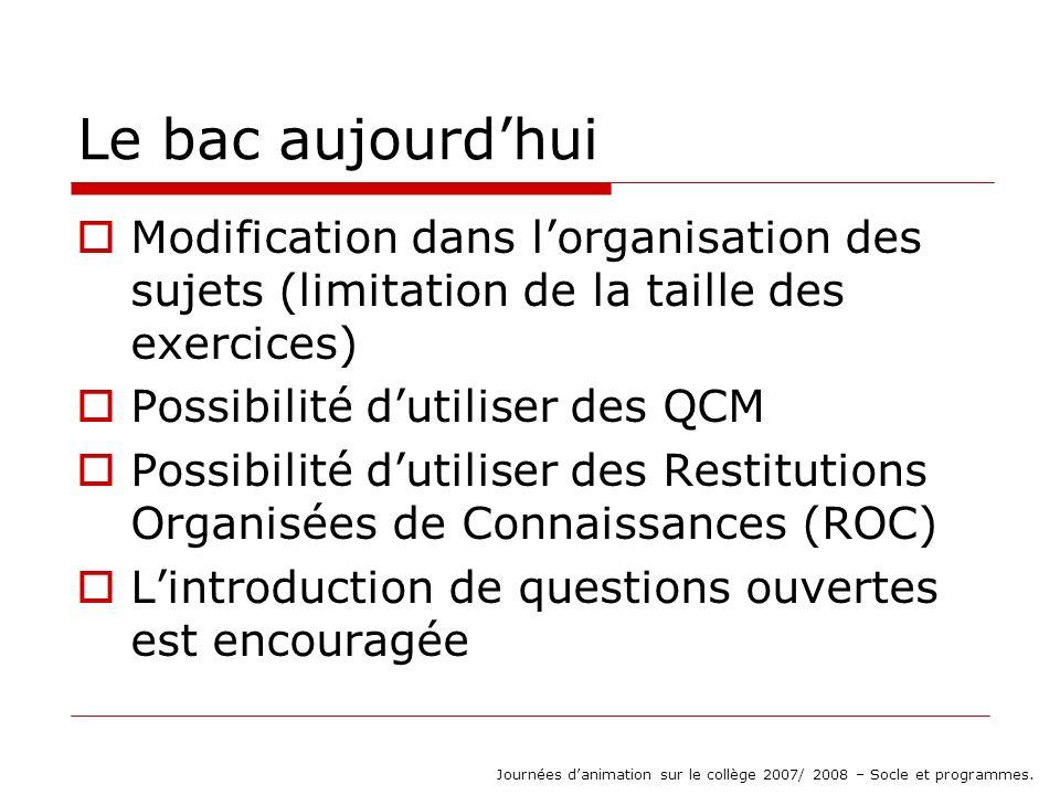 Les QCM (et dispositifs analogues : vrai-faux, etc…) Exemple (bac juin 2007, France) Journées danimation sur le collège 2007/ 2008 – Socle et programmes.