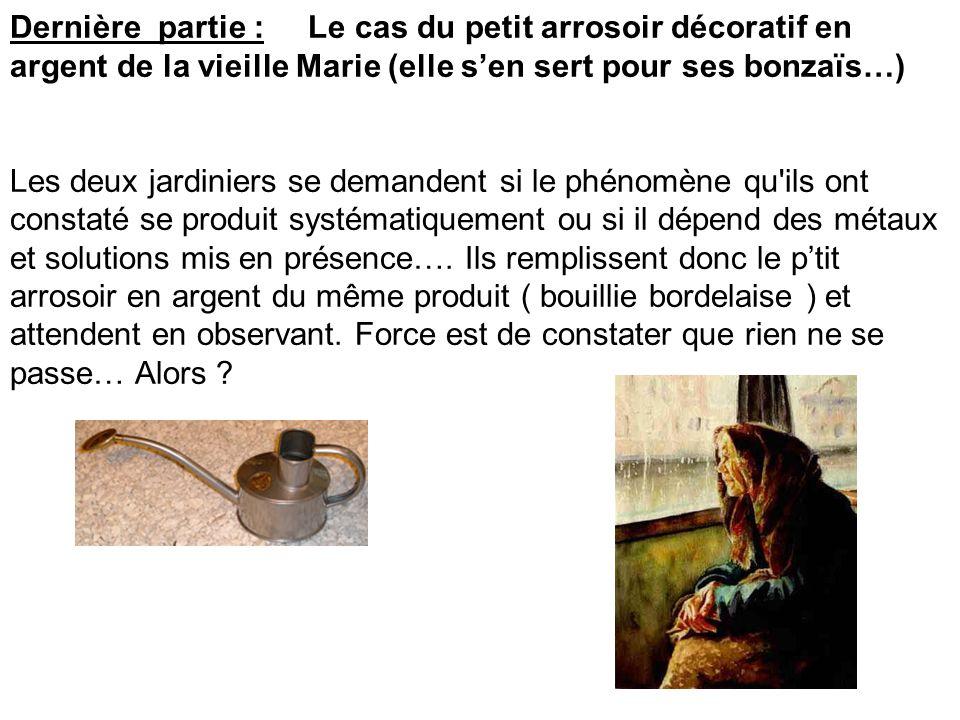 Dernière partie : Le cas du petit arrosoir décoratif en argent de la vieille Marie (elle sen sert pour ses bonzaïs…) Les deux jardiniers se demandent
