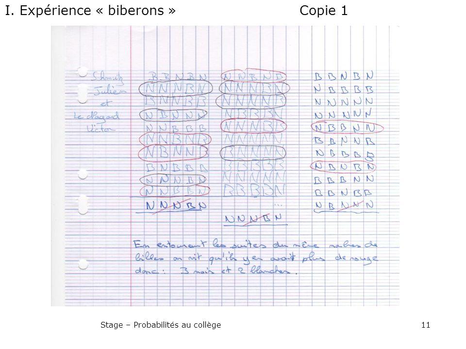 11Stage – Probabilités au collège Copie 1I. Expérience « biberons »