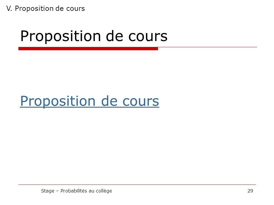 Proposition de cours Stage – Probabilités au collège29 V. Proposition de cours