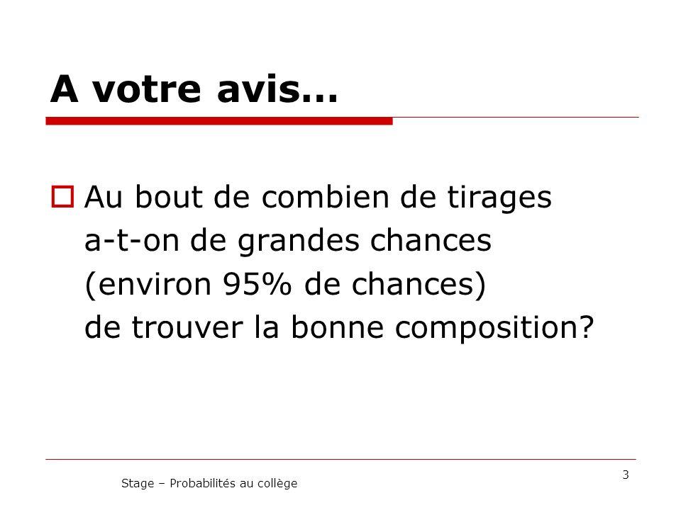 Cadre théorique 14 Stage – Probabilités au collège I.