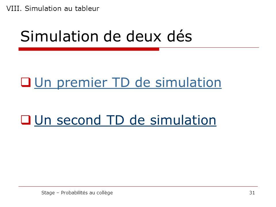 Simulation de deux dés Un premier TD de simulation Un second TD de simulation Stage – Probabilités au collège31 VIII. Simulation au tableur