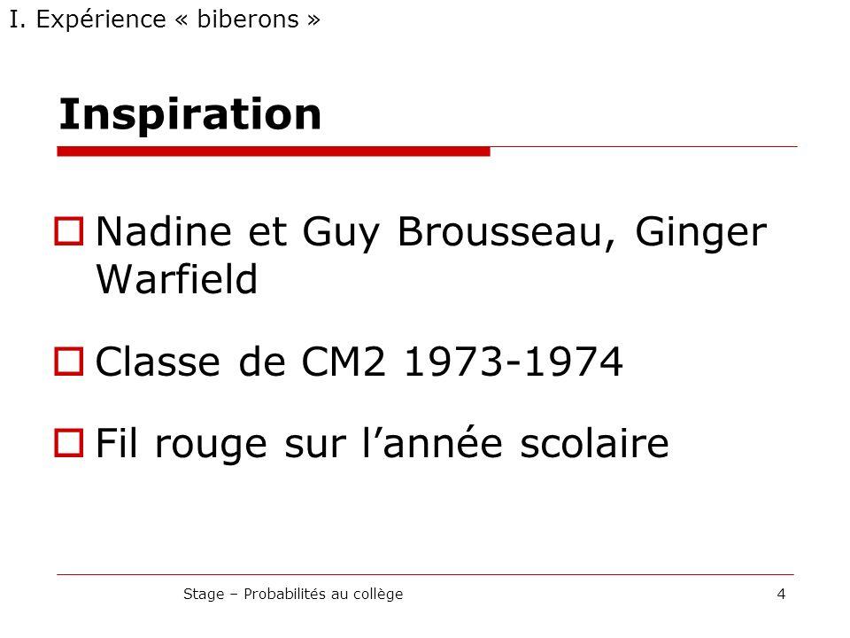 Inspiration Nadine et Guy Brousseau, Ginger Warfield Classe de CM2 1973-1974 Fil rouge sur lannée scolaire I. Expérience « biberons » 4Stage – Probabi
