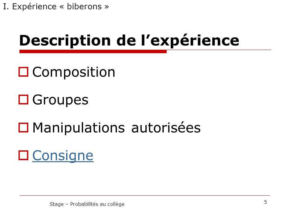 Description de lexpérience Composition Groupes Manipulations autorisées Consigne I. Expérience « biberons » 5 Stage – Probabilités au collège