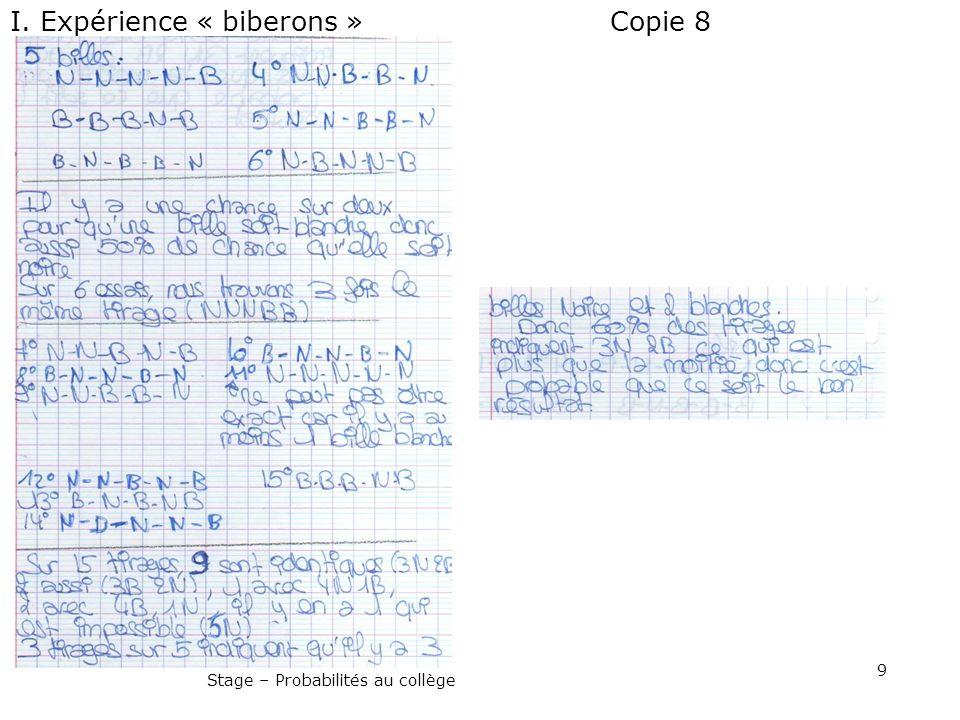 9 Stage – Probabilités au collège Copie 8I. Expérience « biberons »