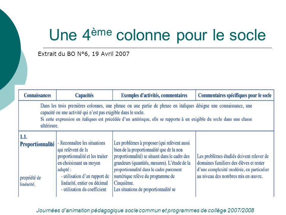 Une 4 ème colonne pour le socle Extrait du BO N°6, 19 Avril 2007 Journées danimation pédagogique socle commun et programmes de collège 2007/2008