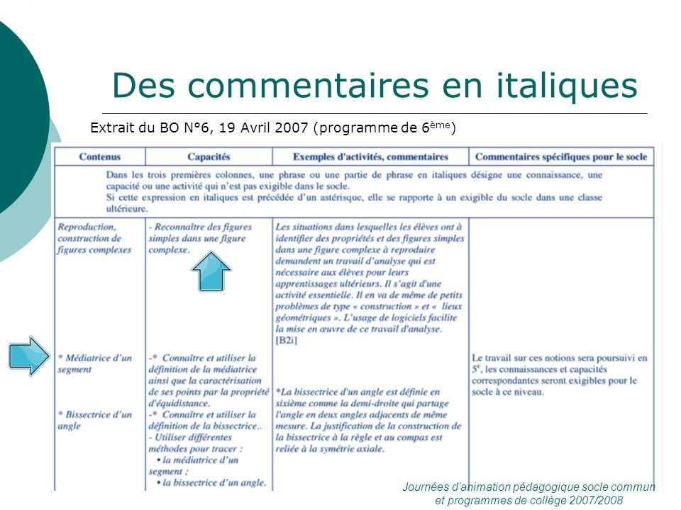Des commentaires en italiques Extrait du BO N°6, 19 Avril 2007 (programme de 6 ème ) Journées danimation pédagogique socle commun et programmes de col