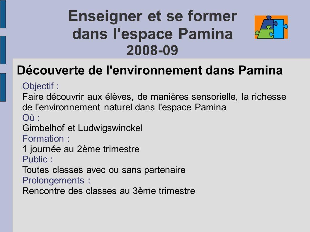 Enseigner et se former dans l'espace Pamina 2008-09 Découverte de l'environnement dans Pamina Objectif : Faire découvrir aux élèves, de manières senso