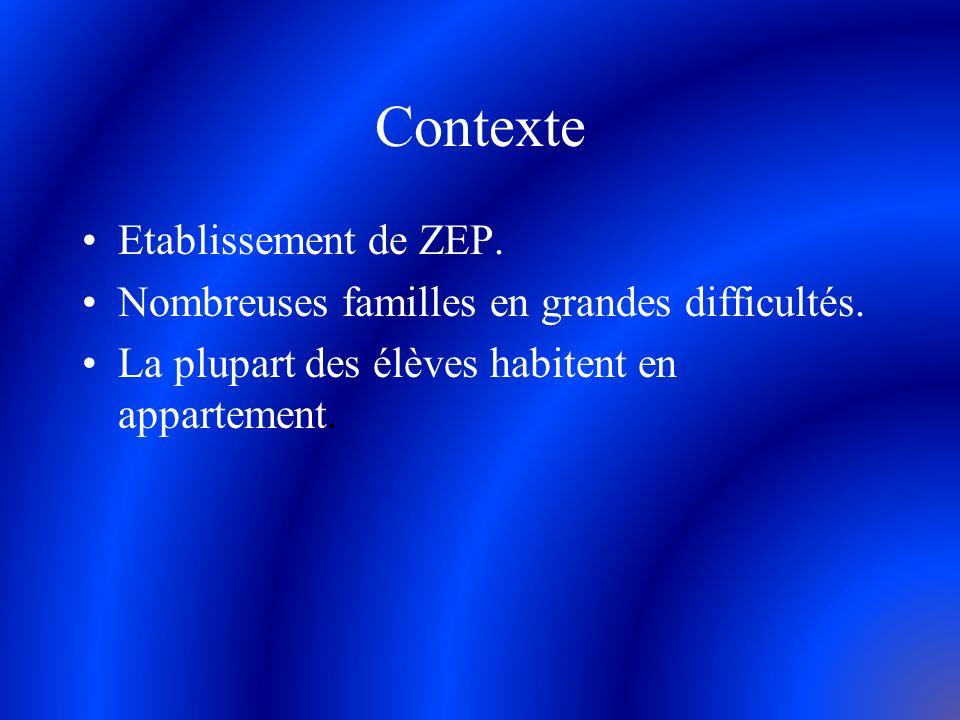 Contexte Etablissement de ZEP. Nombreuses familles en grandes difficultés. La plupart des élèves habitent en appartement.
