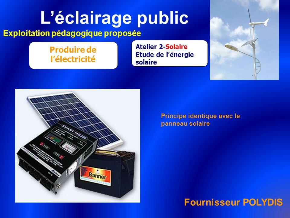 Léclairage public Exploitation pédagogique proposée Produire de lélectricité Atelier 2-Solaire Etude de lénergie solaire Principe identique avec le pa