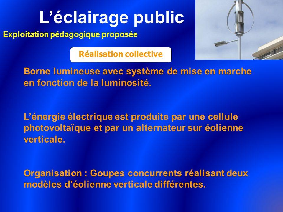 Léclairage public Exploitation pédagogique proposée Réalisation collective Borne lumineuse avec système de mise en marche en fonction de la luminosité