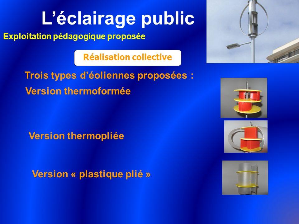 Léclairage public Exploitation pédagogique proposée Réalisation collective Trois types déoliennes proposées : Version thermoformée Version thermopliée