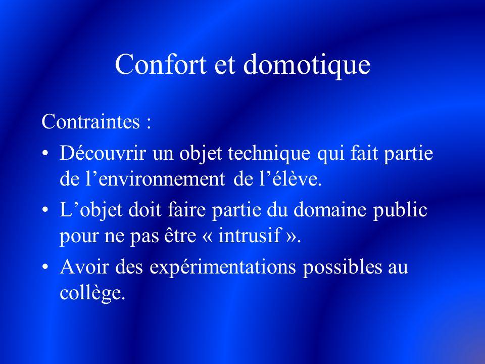 Confort et domotique Contraintes : Découvrir un objet technique qui fait partie de lenvironnement de lélève. Lobjet doit faire partie du domaine publi
