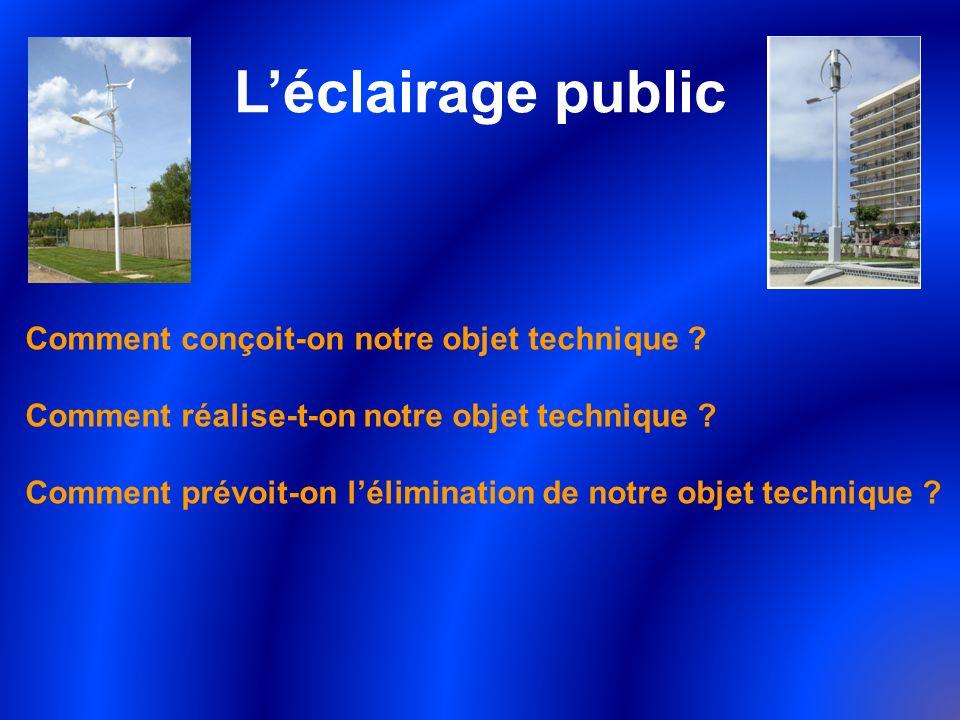 Léclairage public Comment conçoit-on notre objet technique ? Comment réalise-t-on notre objet technique ? Comment prévoit-on lélimination de notre obj