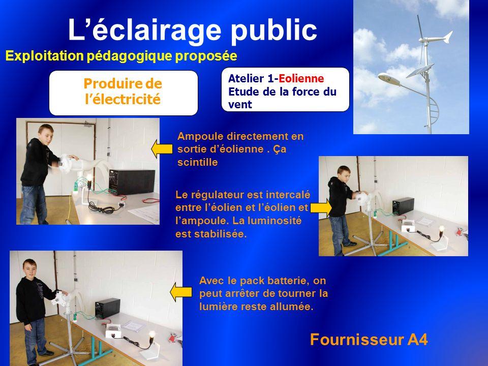 Léclairage public Exploitation pédagogique proposée Produire de lélectricité Atelier 1-Eolienne Etude de la force du vent Ampoule directement en sorti