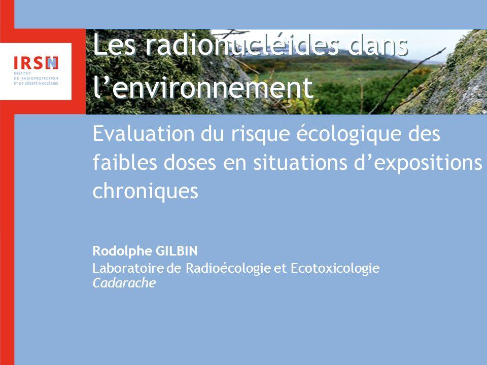 Les radionucléides dans lenvironnement Evaluation du risque écologique des faibles doses en situations dexpositions chroniques Rodolphe GILBIN Laborat