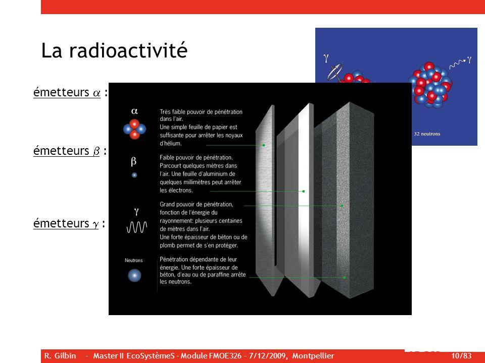 R. Gilbin - Master II EcoSystèmeS - Module FMOE326 – 7/12/2009, Montpellier 10/83 émetteurs : émission dun noyau dhélium émetteurs : émission dun élec