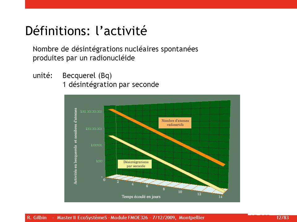 R. Gilbin - Master II EcoSystèmeS - Module FMOE326 – 7/12/2009, Montpellier 12/83 Définitions: lactivité Nombre de désintégrations nucléaires spontané