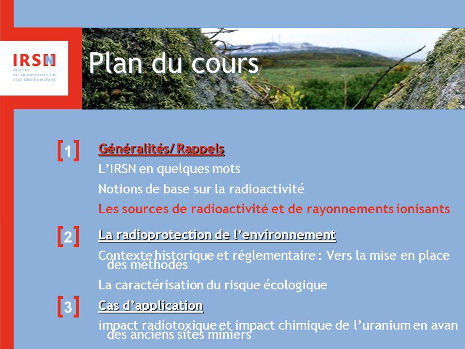 Plan du cours Généralités/ Rappels LIRSN en quelques mots Notions de base sur la radioactivité Les sources de radioactivité et de rayonnements ionisan