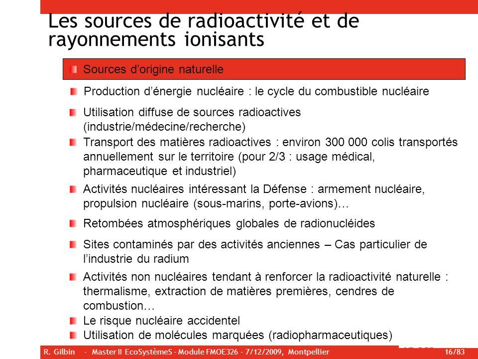 R. Gilbin - Master II EcoSystèmeS - Module FMOE326 – 7/12/2009, Montpellier 16/83 Les sources de radioactivité et de rayonnements ionisants Sources do