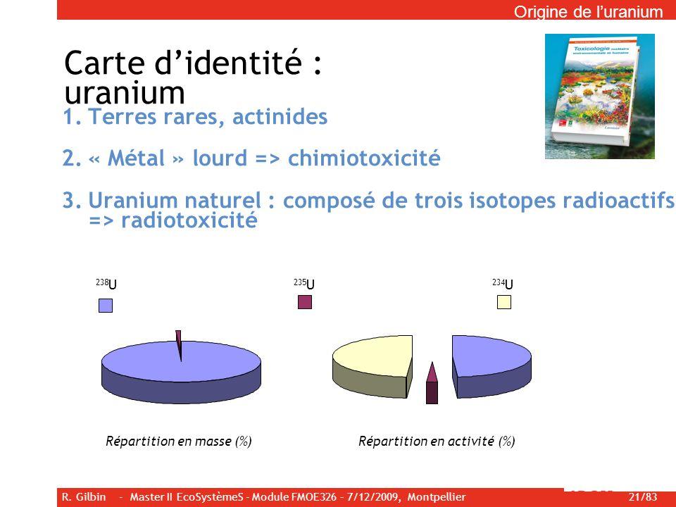 R. Gilbin - Master II EcoSystèmeS - Module FMOE326 – 7/12/2009, Montpellier 21/83 Carte didentité : uranium 1.Terres rares, actinides 2.« Métal » lour