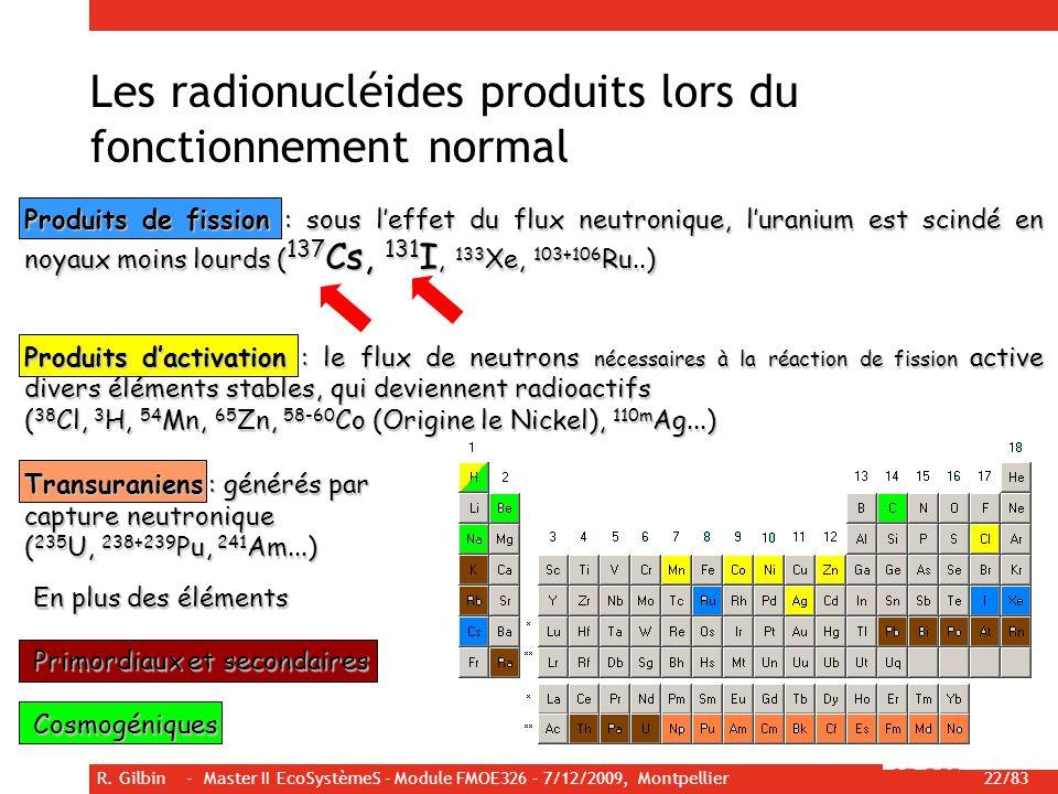 R. Gilbin - Master II EcoSystèmeS - Module FMOE326 – 7/12/2009, Montpellier 22/83 Produits de fission : sous leffet du flux neutronique, luranium est