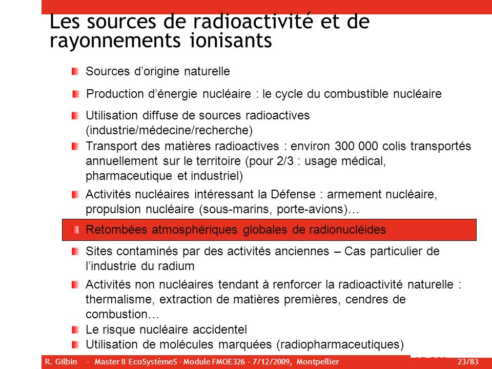 R. Gilbin - Master II EcoSystèmeS - Module FMOE326 – 7/12/2009, Montpellier 23/83 Les sources de radioactivité et de rayonnements ionisants Sources do