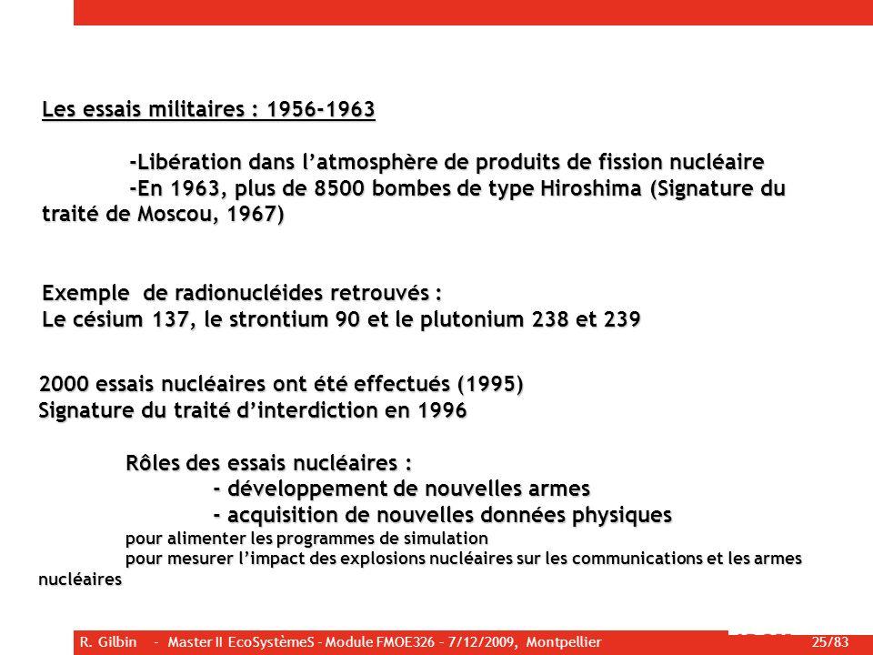 R. Gilbin - Master II EcoSystèmeS - Module FMOE326 – 7/12/2009, Montpellier 25/83 Les essais militaires : 1956-1963 -Libération dans latmosphère de pr