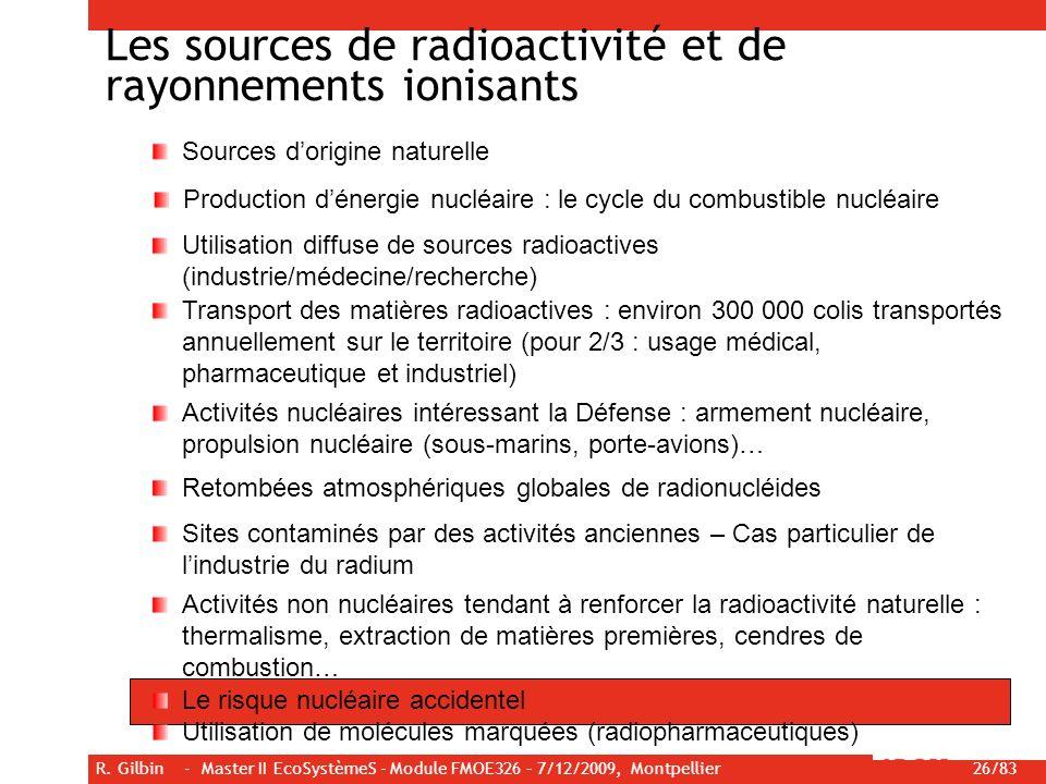 R. Gilbin - Master II EcoSystèmeS - Module FMOE326 – 7/12/2009, Montpellier 26/83 Les sources de radioactivité et de rayonnements ionisants Sources do