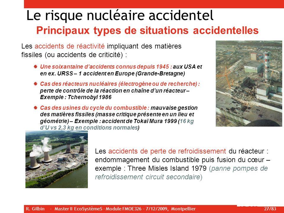 R. Gilbin - Master II EcoSystèmeS - Module FMOE326 – 7/12/2009, Montpellier 27/83 Le risque nucléaire accidentel Principaux types de situations accide