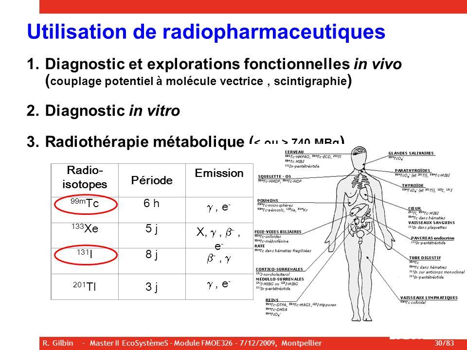 R. Gilbin - Master II EcoSystèmeS - Module FMOE326 – 7/12/2009, Montpellier 30/83 Utilisation de radiopharmaceutiques 1.Diagnostic et explorations fon