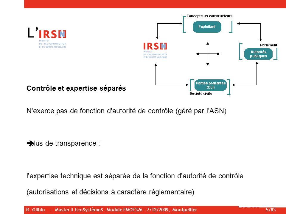 R. Gilbin - Master II EcoSystèmeS - Module FMOE326 – 7/12/2009, Montpellier 5/83 Contrôle et expertise séparés N'exerce pas de fonction d'autorité de
