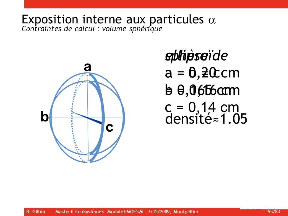 R. Gilbin - Master II EcoSystèmeS - Module FMOE326 – 7/12/2009, Montpellier 53/83 ellipsoïde a = 0,20 cm b = 0,16 cm c = 0,14 cm sphère a = b = c = 0,