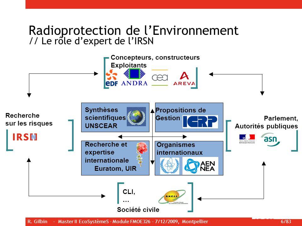 R. Gilbin - Master II EcoSystèmeS - Module FMOE326 – 7/12/2009, Montpellier 6/83 Radioprotection de lEnvironnement // Le rôle dexpert de lIRSN Synthès