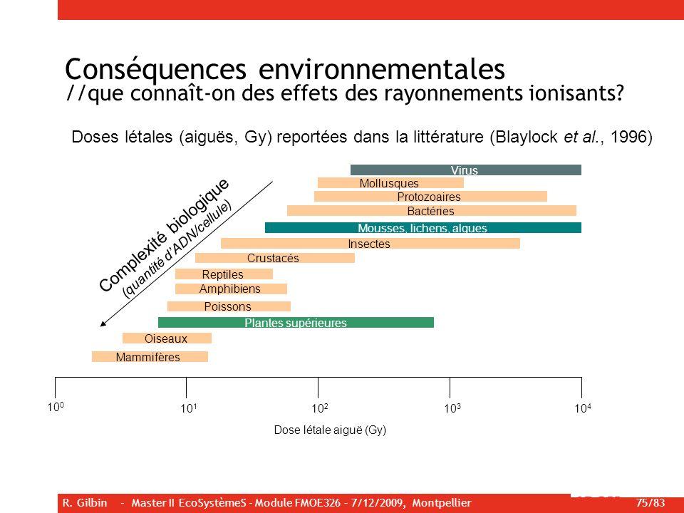 R. Gilbin - Master II EcoSystèmeS - Module FMOE326 – 7/12/2009, Montpellier 75/83 Conséquences environnementales //que connaît-on des effets des rayon
