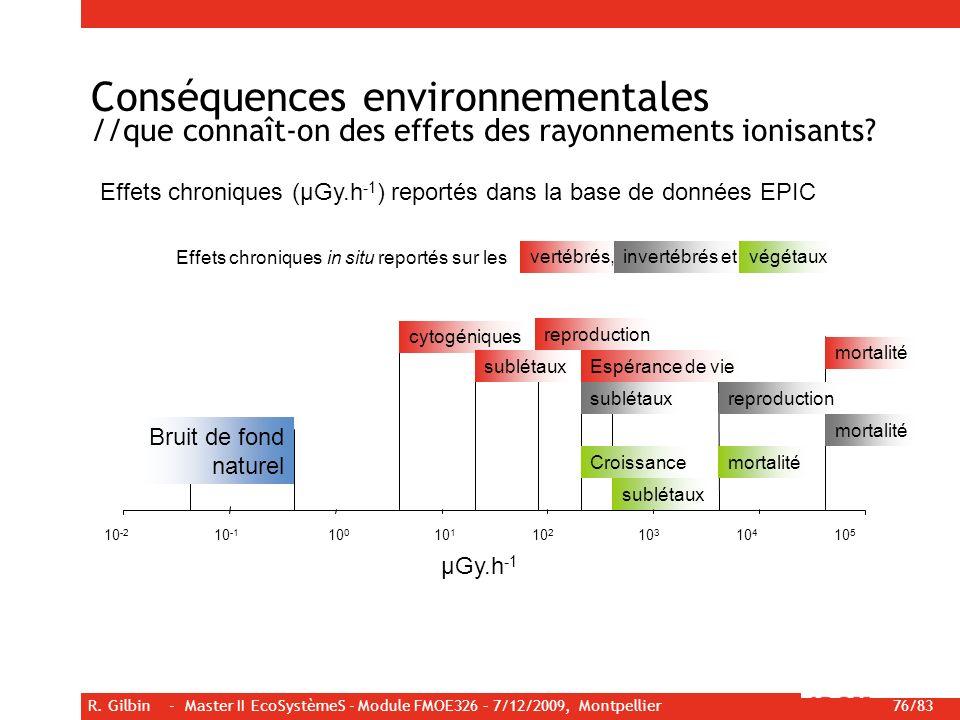 R. Gilbin - Master II EcoSystèmeS - Module FMOE326 – 7/12/2009, Montpellier 76/83 Conséquences environnementales //que connaît-on des effets des rayon