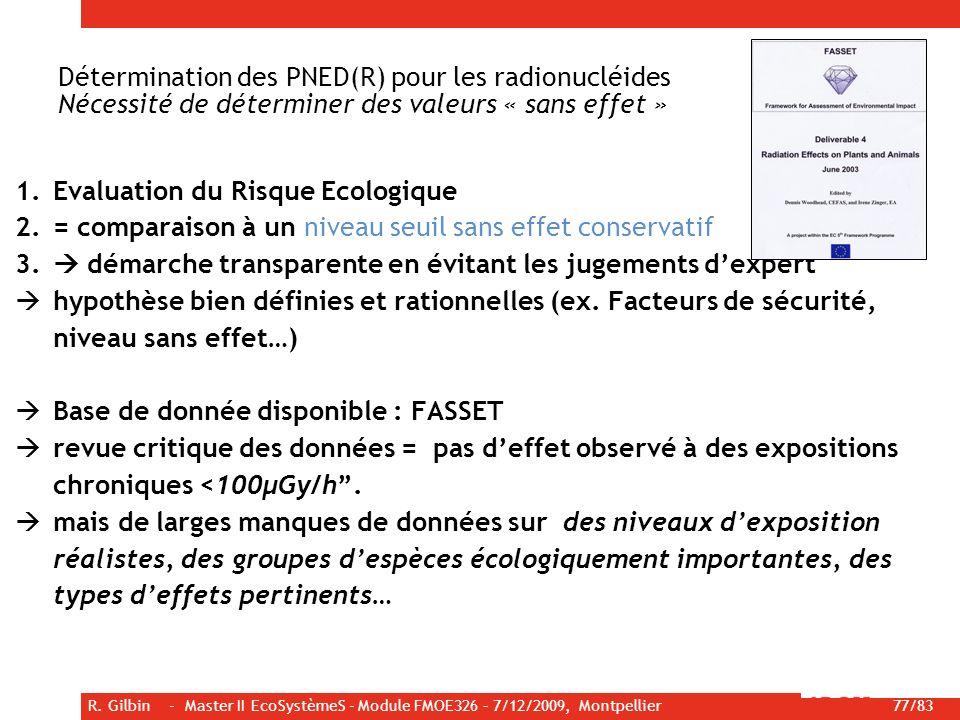 R. Gilbin - Master II EcoSystèmeS - Module FMOE326 – 7/12/2009, Montpellier 77/83 Détermination des PNED(R) pour les radionucléides Nécessité de déter