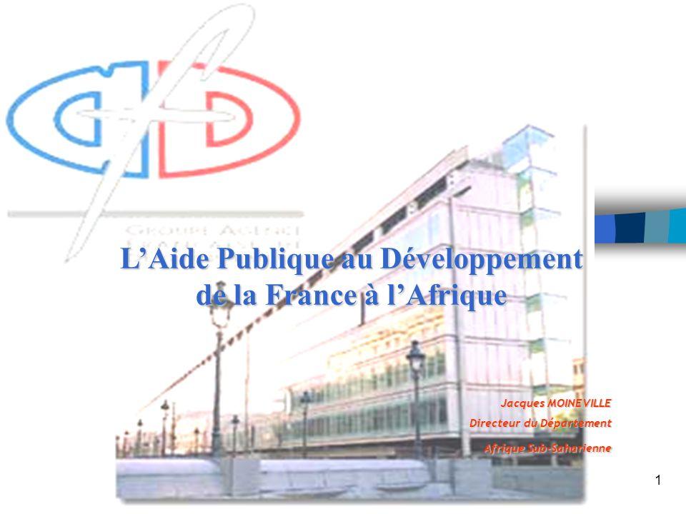 1 Jacques MOINEVILLE Directeur du Département Afrique Sub-Saharienne LAide Publique au Développement de la France à lAfrique