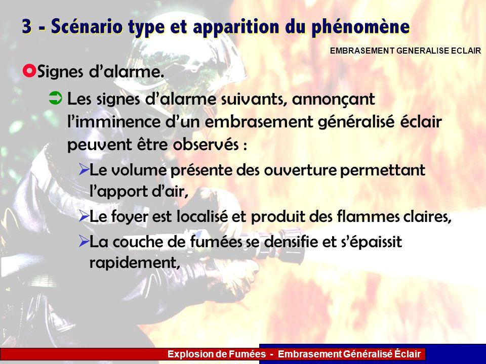 Explosion de Fumées - Embrasement Généralisé Éclair 3 - Scénario type et apparition du phénomène Signes dalarme. Les signes dalarme suivants, annonçan