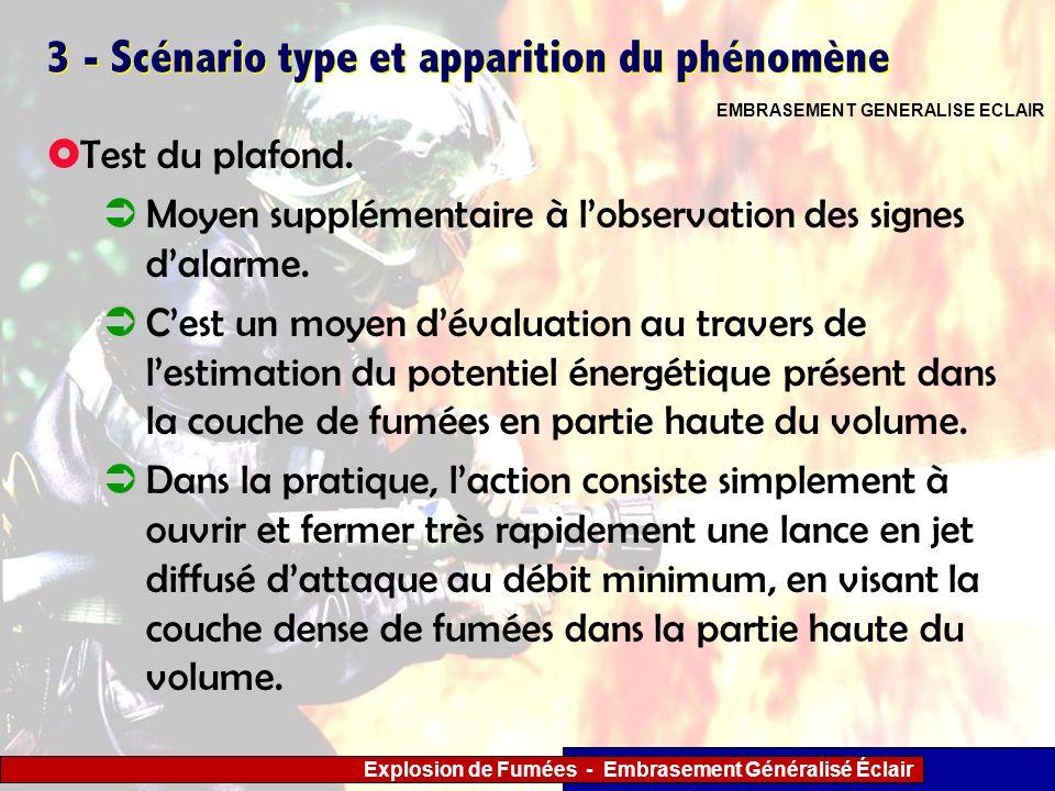 Explosion de Fumées - Embrasement Généralisé Éclair 3 - Scénario type et apparition du phénomène Test du plafond. Moyen supplémentaire à lobservation