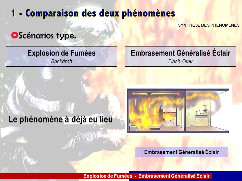 Explosion de Fumées - Embrasement Généralisé Éclair 1 - Comparaison des deux phénomènes Scénarios type. SYNTHESE DES PHENOMENES Explosion de Fumées Ba