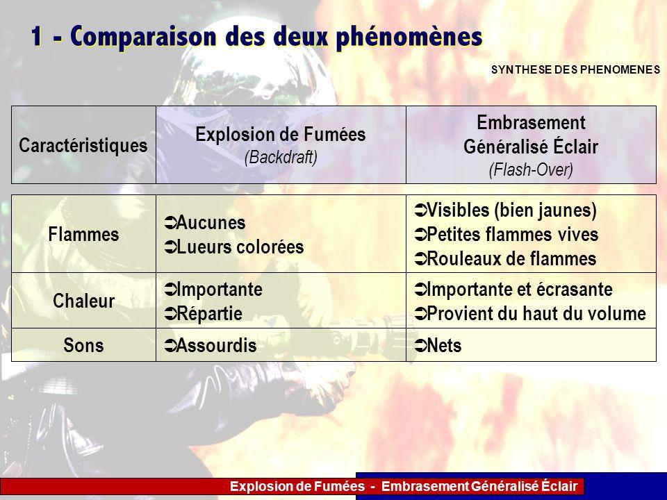 Explosion de Fumées - Embrasement Généralisé Éclair 1 - Comparaison des deux phénomènes SYNTHESE DES PHENOMENES Caractéristiques Explosion de Fumées (