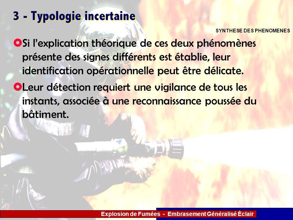 Explosion de Fumées - Embrasement Généralisé Éclair 3 - Typologie incertaine Si lexplication théorique de ces deux phénomènes présente des signes diff