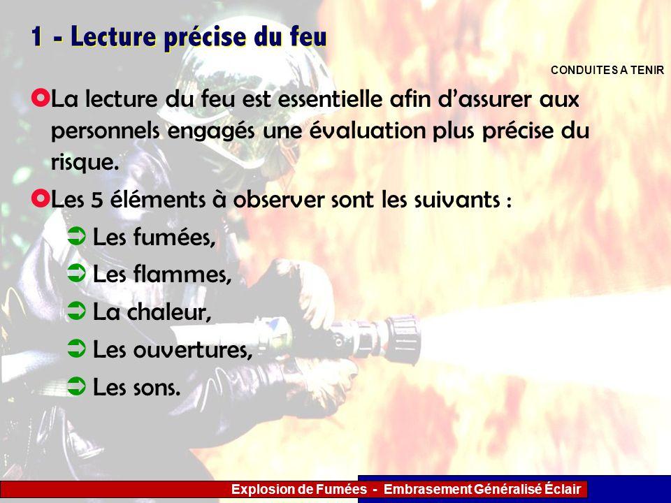 Explosion de Fumées - Embrasement Généralisé Éclair 1 - Lecture précise du feu La lecture du feu est essentielle afin dassurer aux personnels engagés