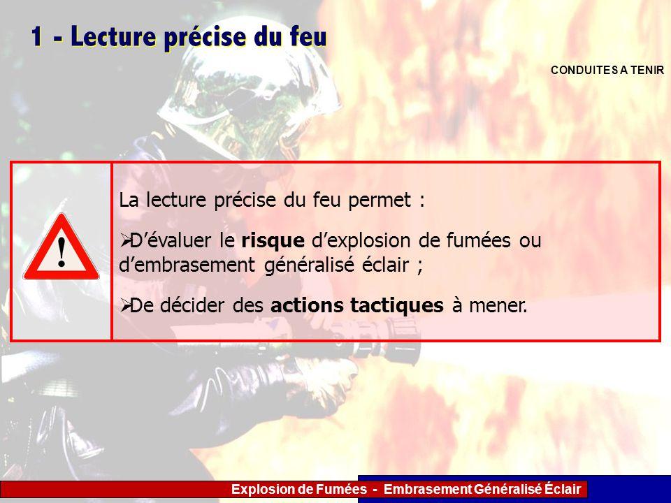 Explosion de Fumées - Embrasement Généralisé Éclair 1 - Lecture précise du feu CONDUITES A TENIR La lecture précise du feu permet : Dévaluer le risque