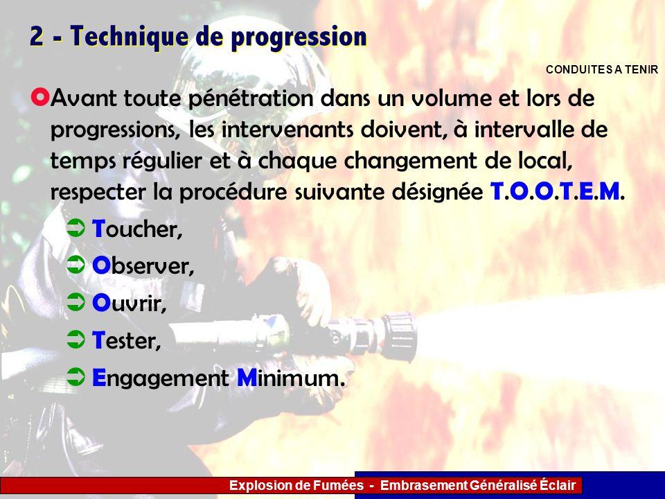 Explosion de Fumées - Embrasement Généralisé Éclair 2 - Technique de progression Avant toute pénétration dans un volume et lors de progressions, les i