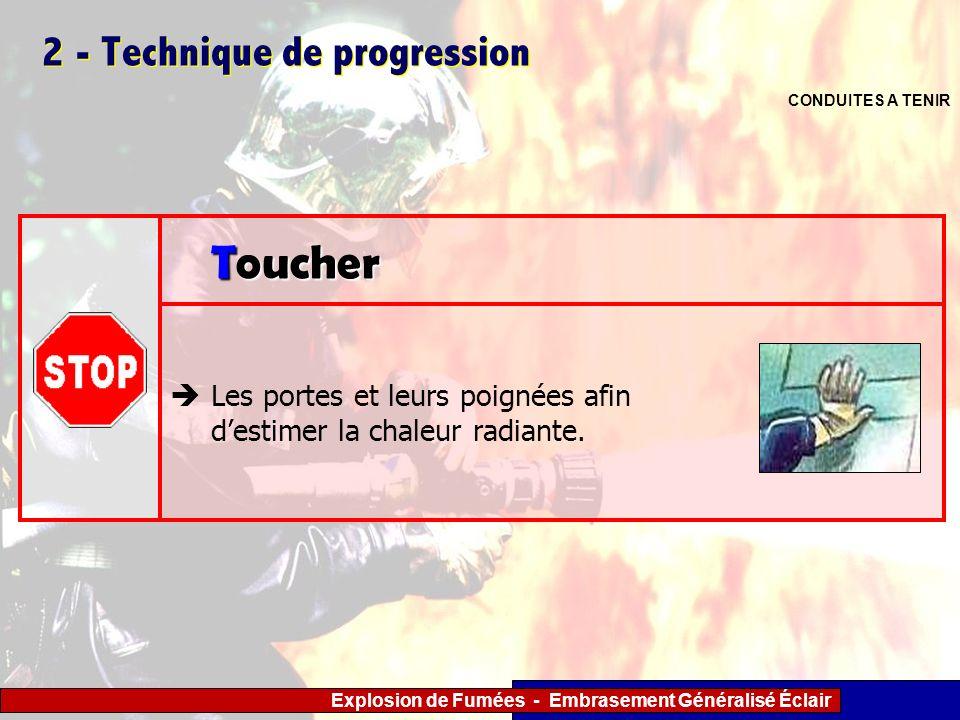 Explosion de Fumées - Embrasement Généralisé Éclair 2 - Technique de progression CONDUITES A TENIR Les portes et leurs poignées afin destimer la chale
