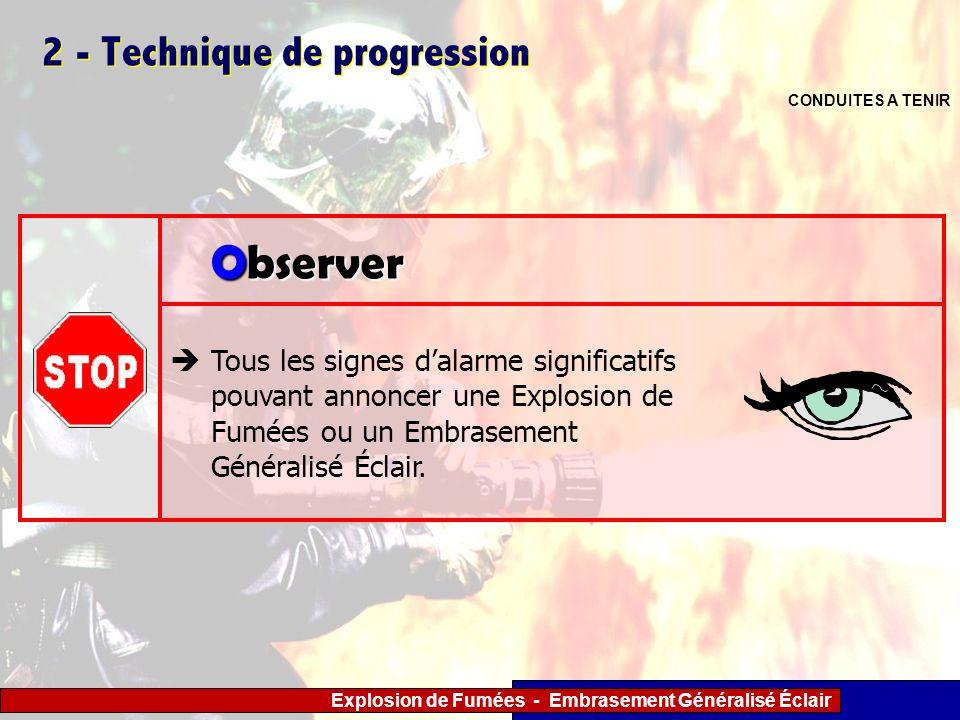 Explosion de Fumées - Embrasement Généralisé Éclair 2 - Technique de progression CONDUITES A TENIR Tous les signes dalarme significatifs pouvant annon