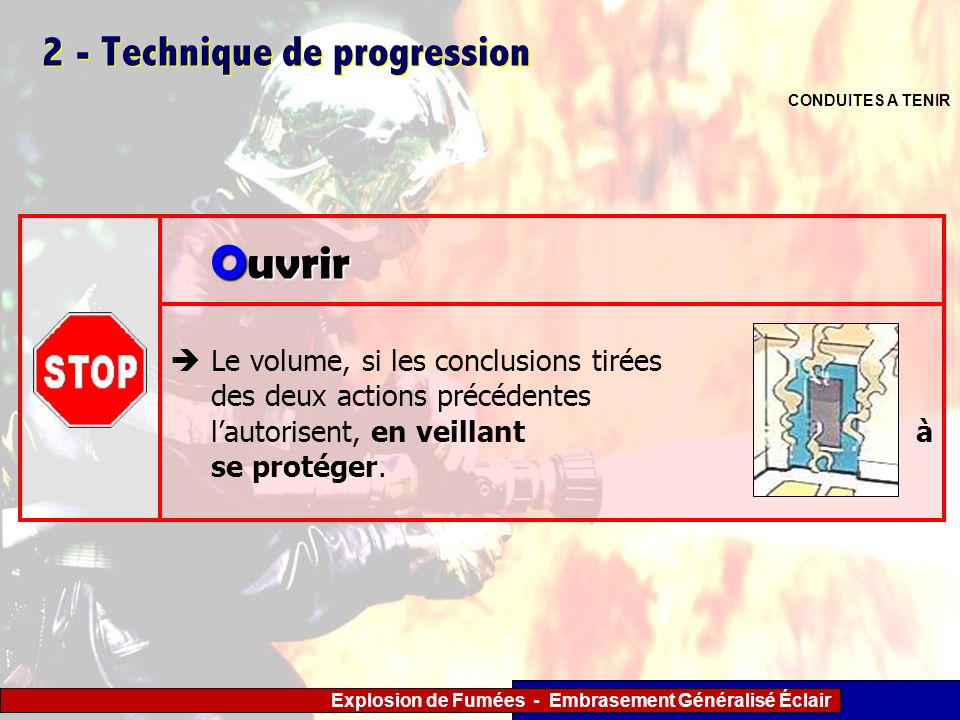Explosion de Fumées - Embrasement Généralisé Éclair 2 - Technique de progression Le volume, si les conclusions tirées des deux actions précédentes lau