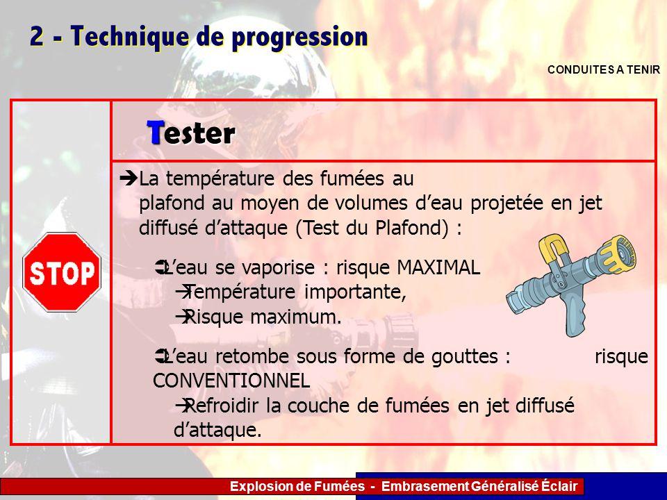 Explosion de Fumées - Embrasement Généralisé Éclair 2 - Technique de progression CONDUITES A TENIR La température des fumées au plafond au moyen de vo